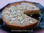 Pear and Almond Cake with toasted almond topping