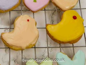 2 Easter Chick Biscuits iced in apricot and egg yellow