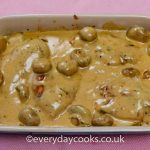 Chicken in Sherry Sauce in a shallow dish