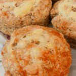 7 Cheese Scones on a patterned plate