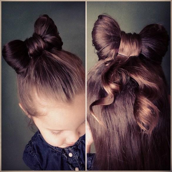 This hair bow bun hair tutorial is the cutest little girl hairstyle ever!