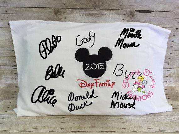 Disney Character Signatures on a pillow case