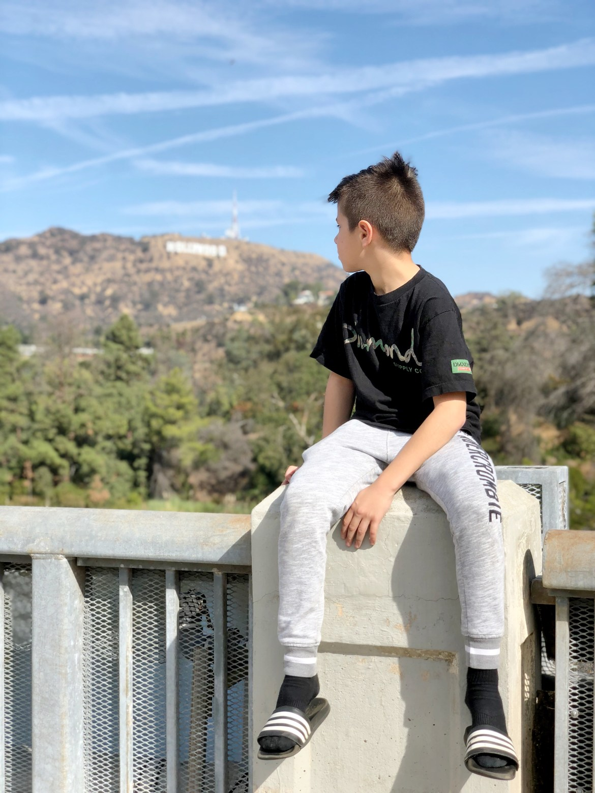 A boy overlooking the hollywood hills