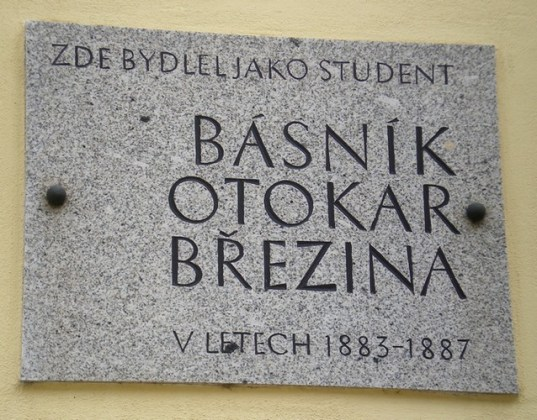 A plaque dedicated to one the most famous Czech poets.