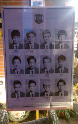 EXO poster in the window of a CD shop in Hangzhou