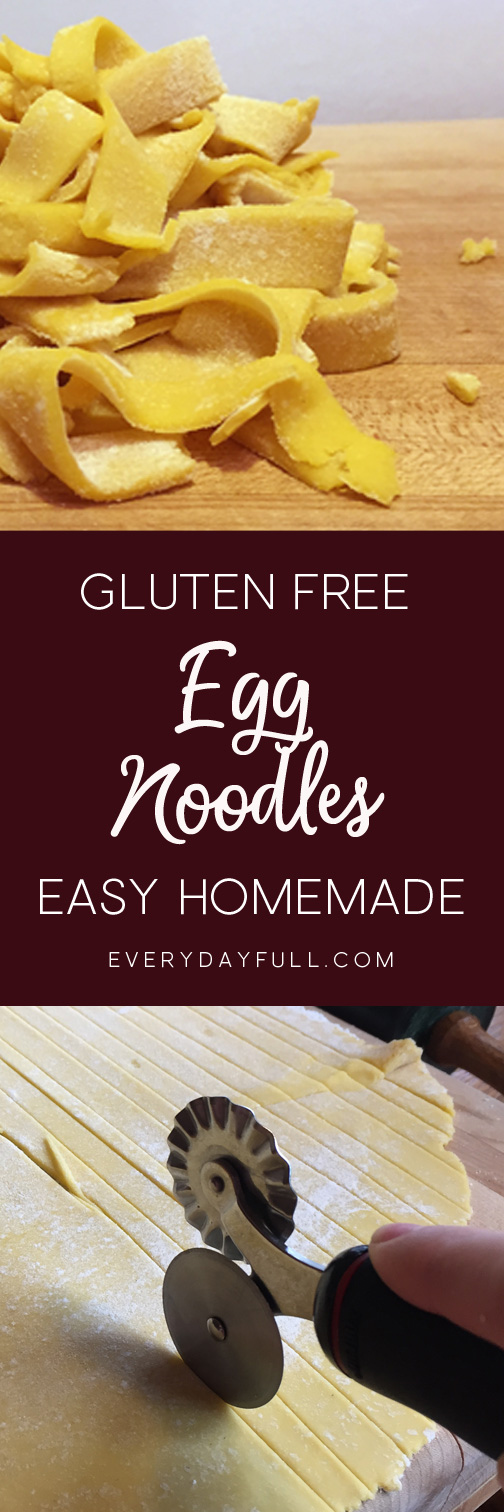 Gluten free egg noodles in a pile and gluten free egg noodle dough being cut with a pastry cutter. Pinterest Pin