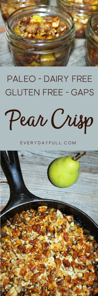 Pinterest Pin for Cashew Walnut Pear Crisp with images of crisp in cast iron pan and dished up into ramekins