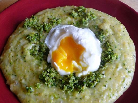 Polenta with Roasted Broccoli Pesto & a Poached Egg (c) jfhaugen