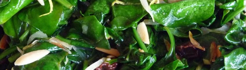Sauteed Spinach with Garlic, Almonds, Raisins & Lemon (c) jfhaugen