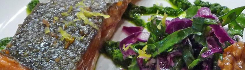 Lemon Cured Salmon w/ Arugula Pesto & Raw Kale, Cabbage & Jicama Salad