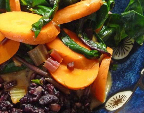 Garden Vegetable Stir Fry w/ Black Rice & Spicy Peanut Sauce