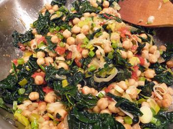 Roasted Garbanzos w/ Greens, Tomatoes & Garlic