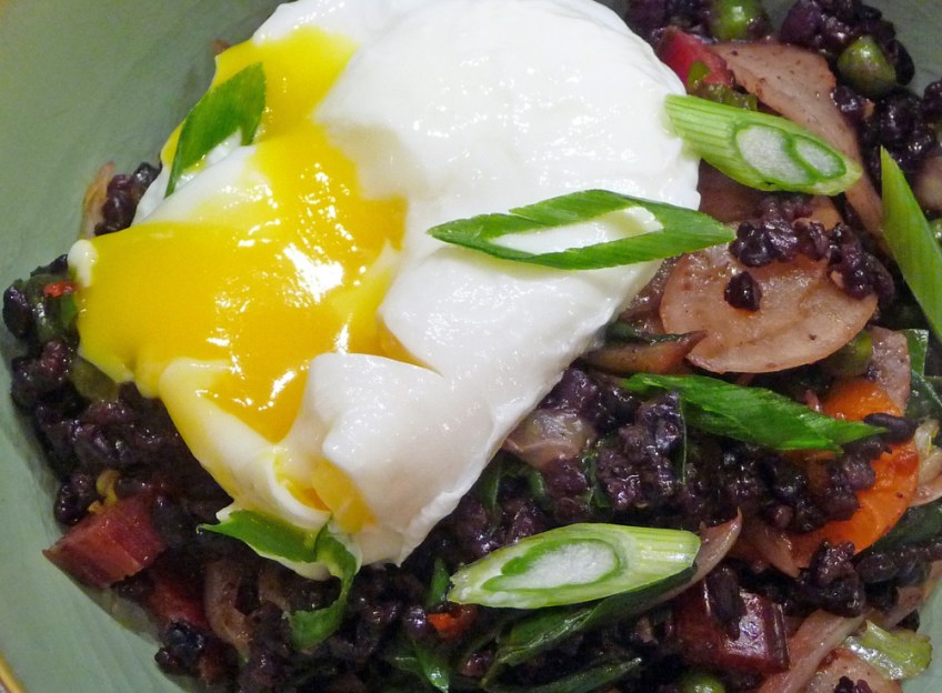 Kimchi Fried Rice with Greens & Poached Eggs
