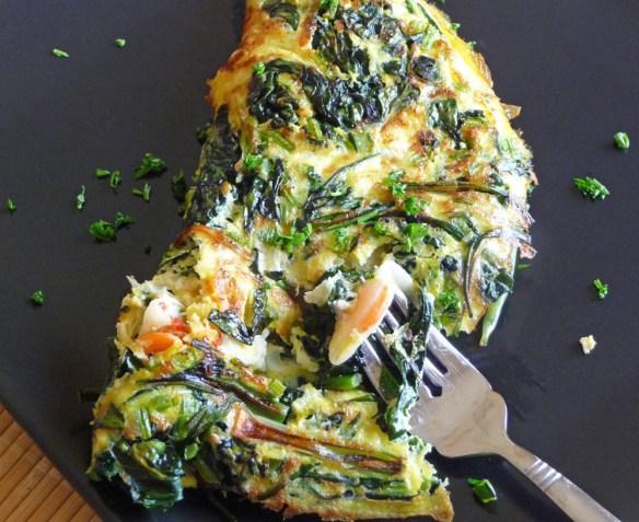 Kimchi Omelet w/ Kale & Green Onion