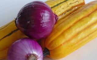 Roasted Delicata Squash & Purple Onions w/ Tahini Sauce