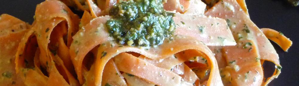 Carrot Ribbon Pasta w/ Creamy Pesto Sauce – Gluten-Free