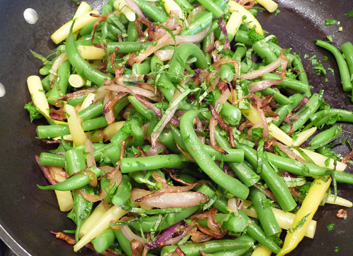 Tortino with Green Beans, Caramelized Onions, Fresh Herbs