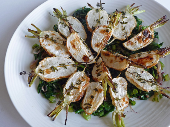 Roasted Japanese Turnips with Greens