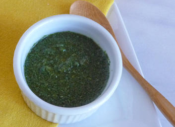Cilantro Mint Chutney with Chili and Lime