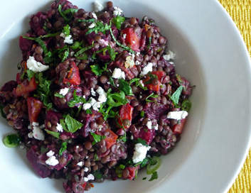 Roasted Beet & Carrot Lentil Salad