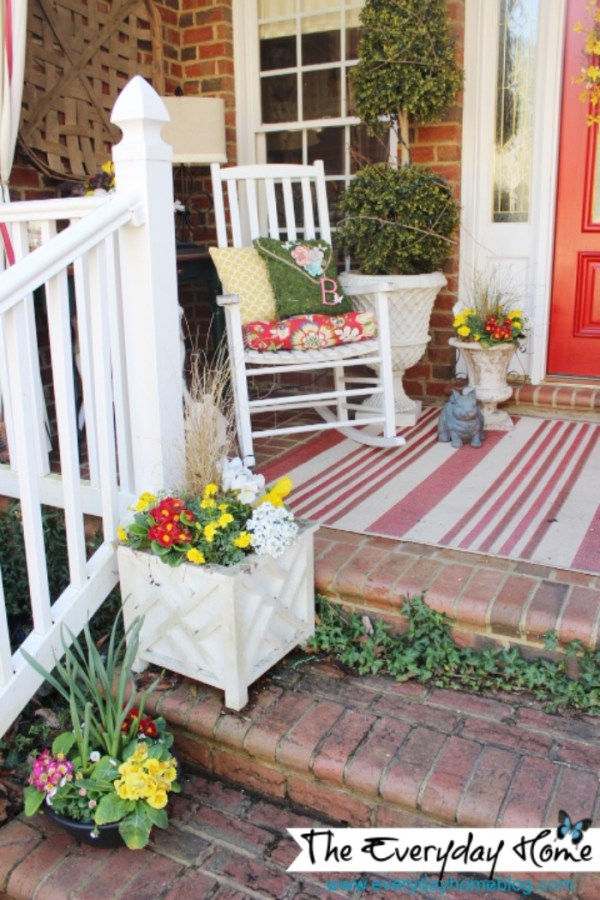 Southern Front Porch Decorated for Spring at The Everyday Home Blog