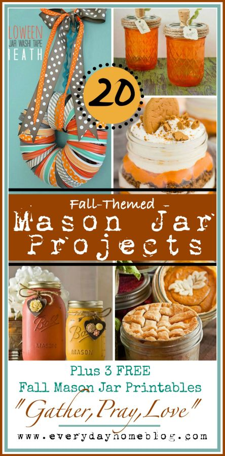 20-Fall-Themed-Mason Jar-Projects   The Everyday Home   www.everydayhomeblog.com