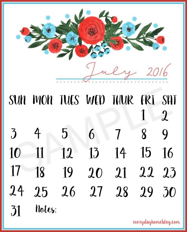 July 2016 Calendar Sample