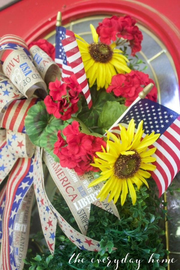 Sunflowers and Geraniums Americana Wreath | The Everyday Home