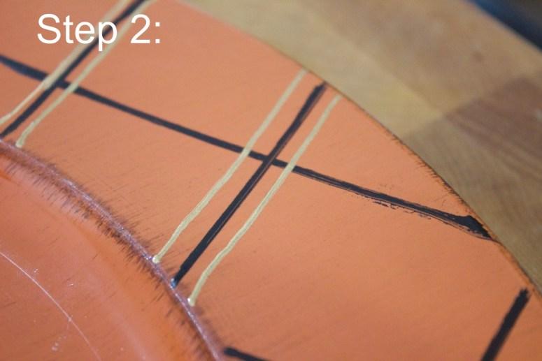 adding-gold-lines-for-fall-plaid-charger | The Everyday Home | www.everydayhomeblog.com