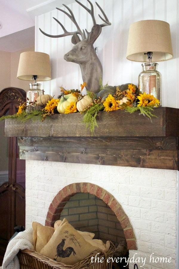 rustic-elegant-fall-fireplace-mantel | The Everyday Home | www.everydayhomeblog.com