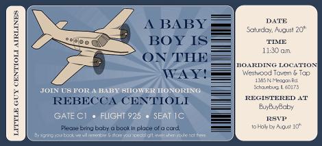 Vintage Airplane Ticket | Baby Shower {Front}