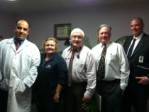 Auburn Internal Medicine (R to L): Hesham Hammouda, MD, Tammy Gentile, office supervisor, Gerald Chase, MD, William McLaughlin, MD, Eric Dickson, MD