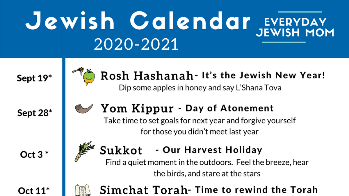 Jewish Calendar 2021 Jewish Calendar 2020 2021   Free Download   Everyday Jewish Mom