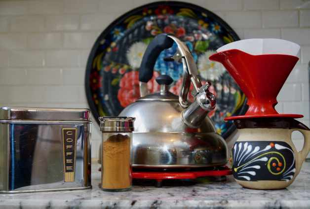 tools and ingredients for Mexican style coffee