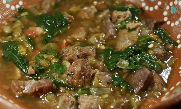 Pork green chile with spinach #amazingporkgreenchilewithspinach