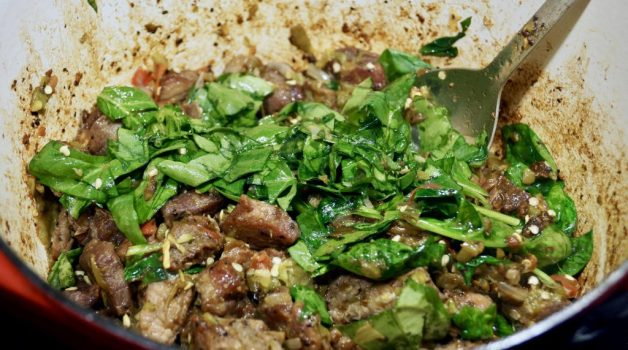 Pork green chile with spinach #porkgreenchilewithspinach