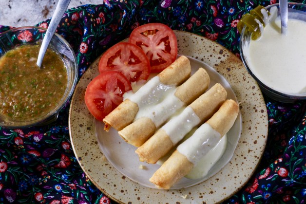 Simple and Crunchy Chicken Flautas with Jalapeño Sour Cream