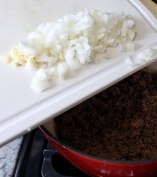 Adding garlic and onion to ground beef