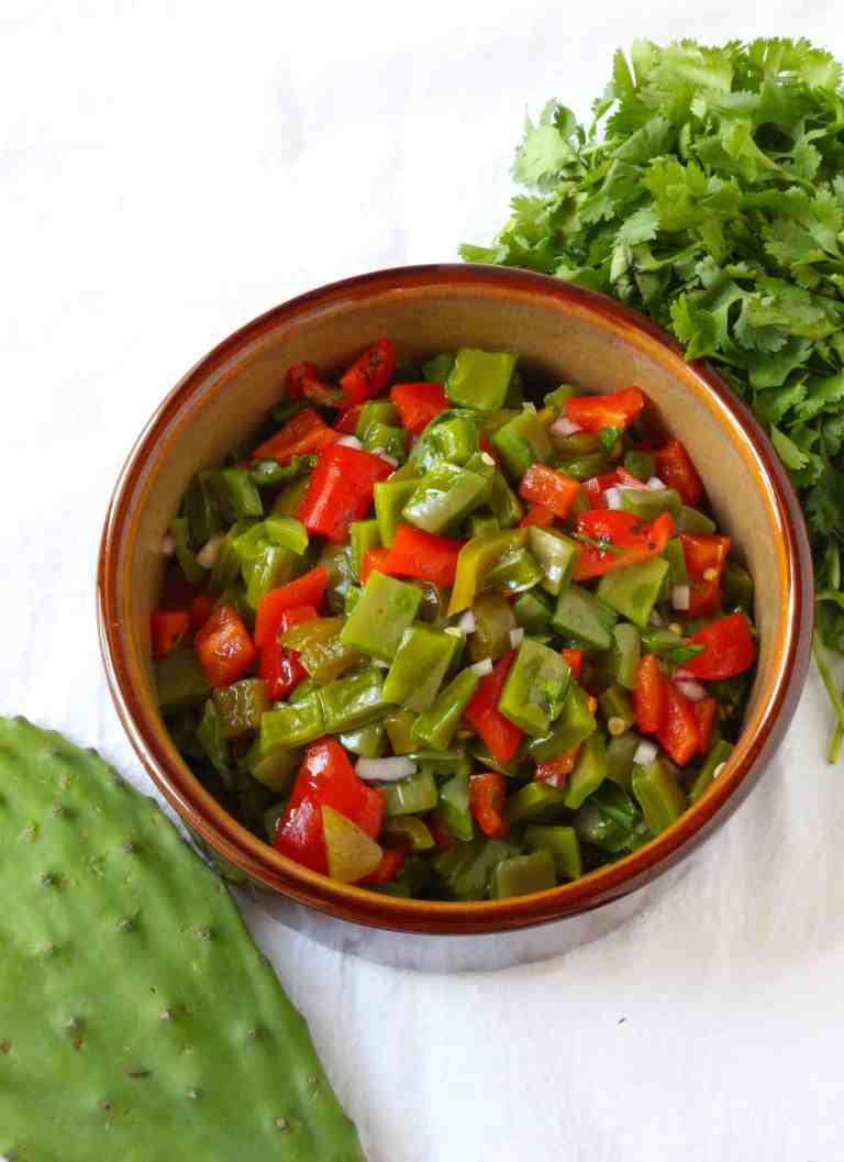 Nopalitos and Roasted Red Pepper Salad #nopalitos #nopales #nopalitossalad