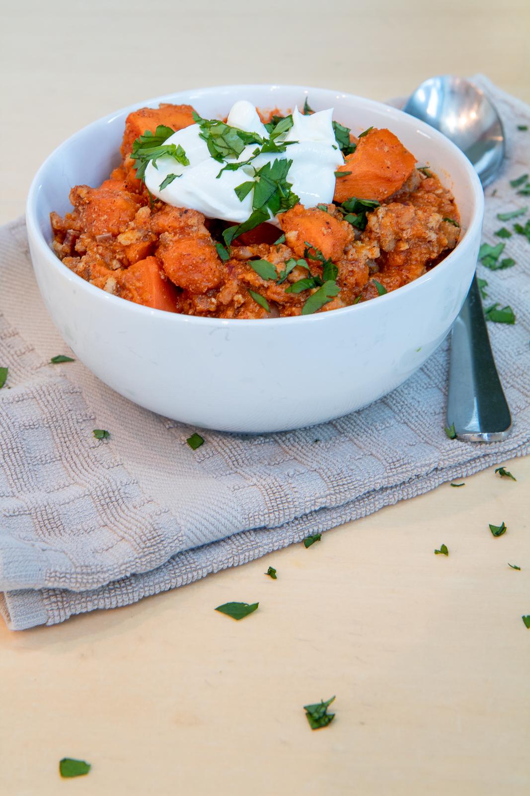 Slow Cooker sweet potato turkey chili