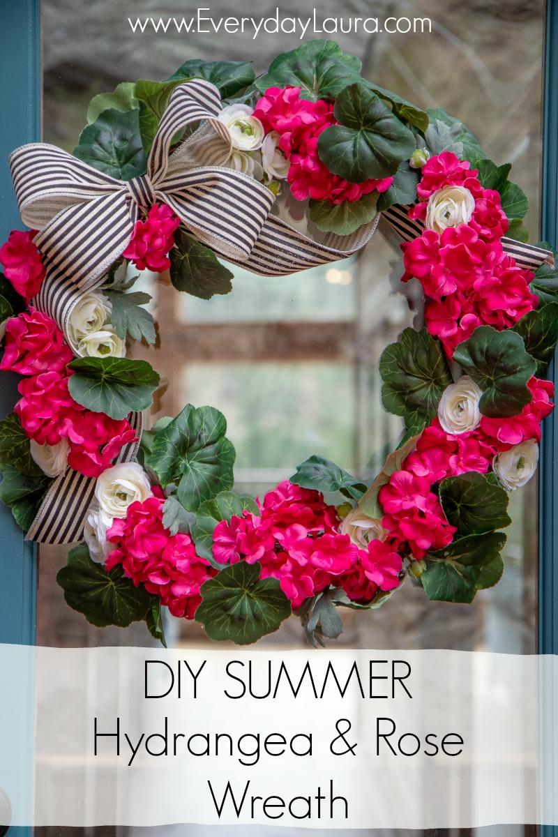 DIY Summer Hydrangea and Rose Wreath