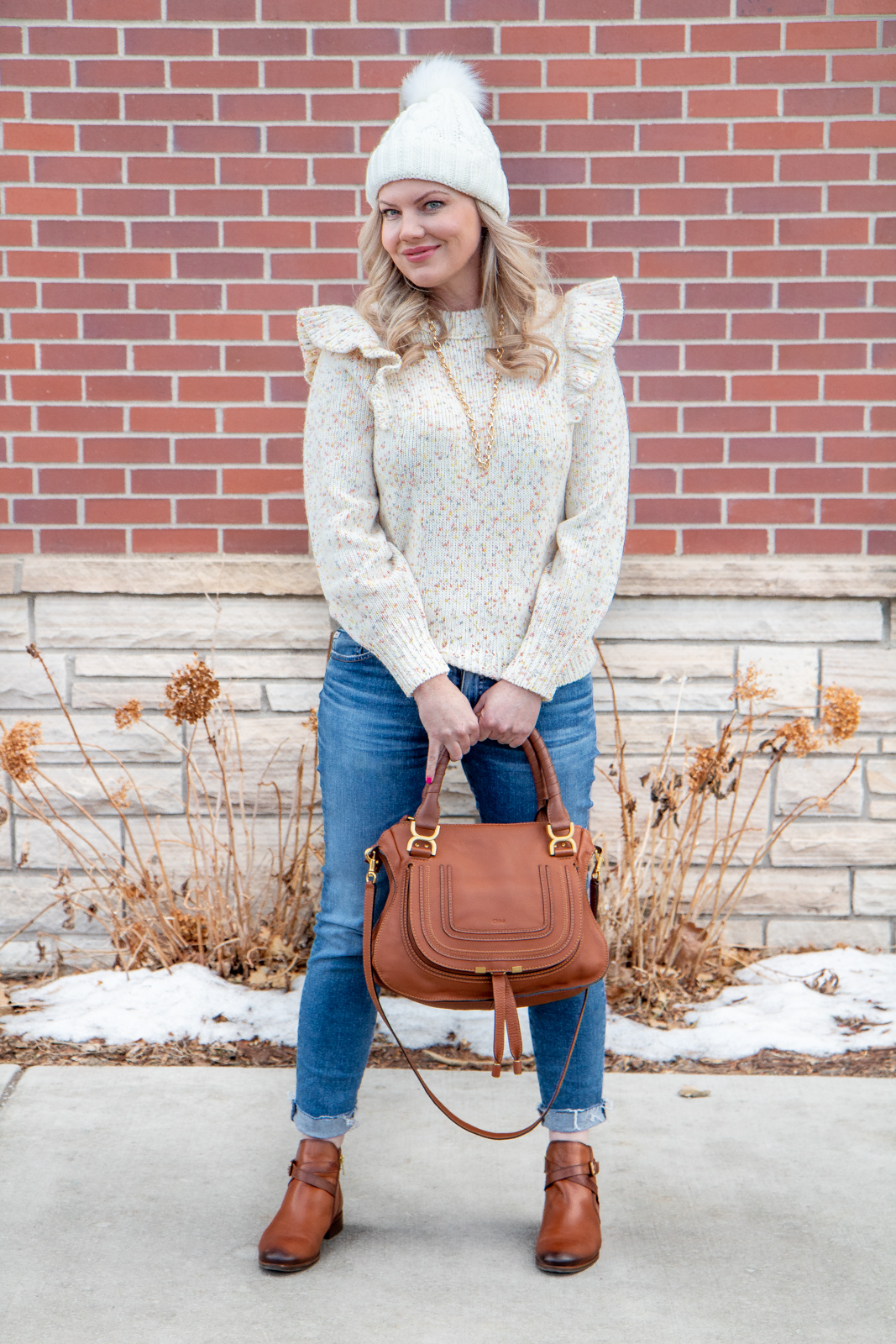 Colorado fashion blogger winter outfits - ruffle sweater