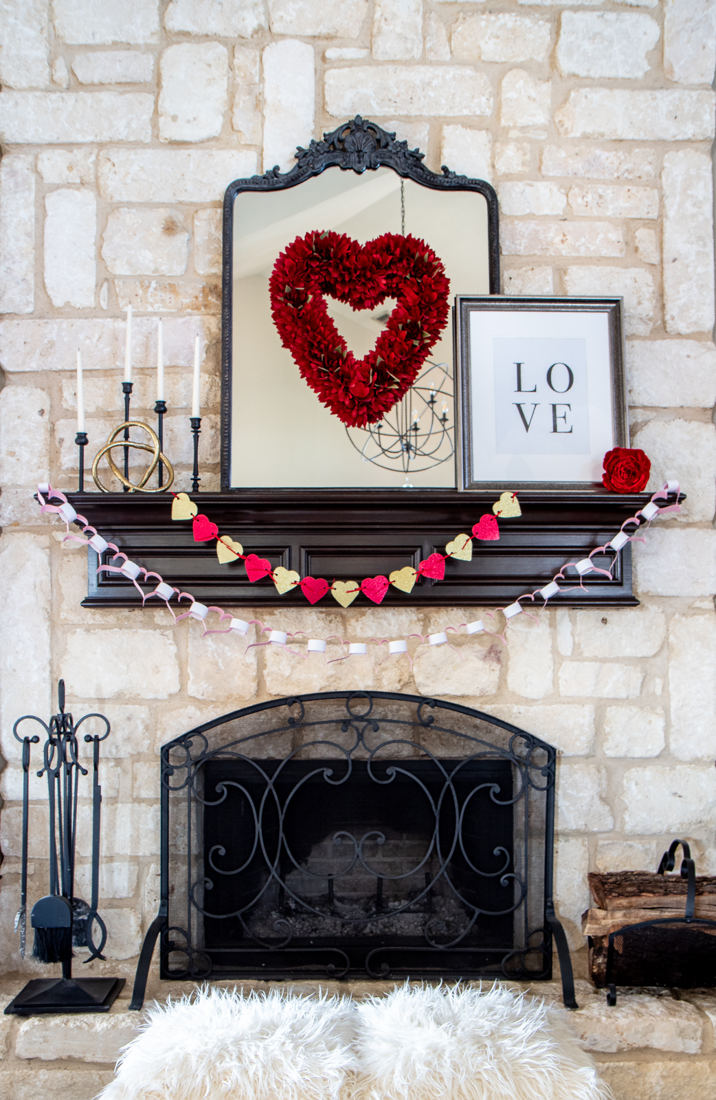Valentine's Day fireplace decor