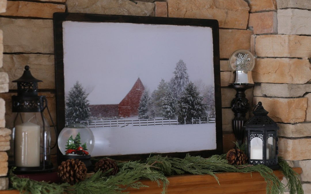 DIY winter mantel
