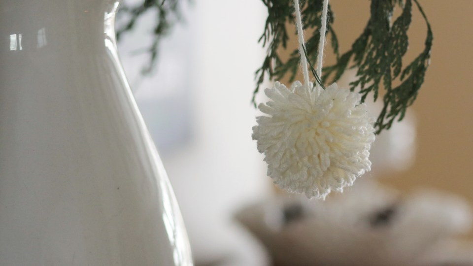 Winter decorating with pompoms