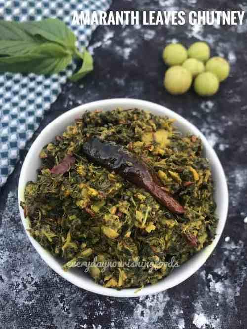 Amaranth leaves chutney - thotakura pachadi - andhra pachadi recipe