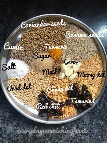 Karivepaku podi - curry leaf powder ingredients
