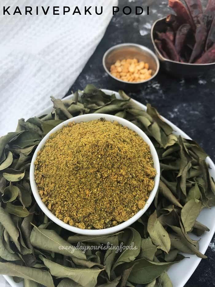 Karivepaku podi - curry leaf powder recipe