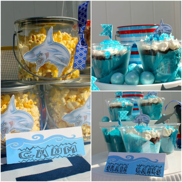Shark week cupcakepopcorn collage