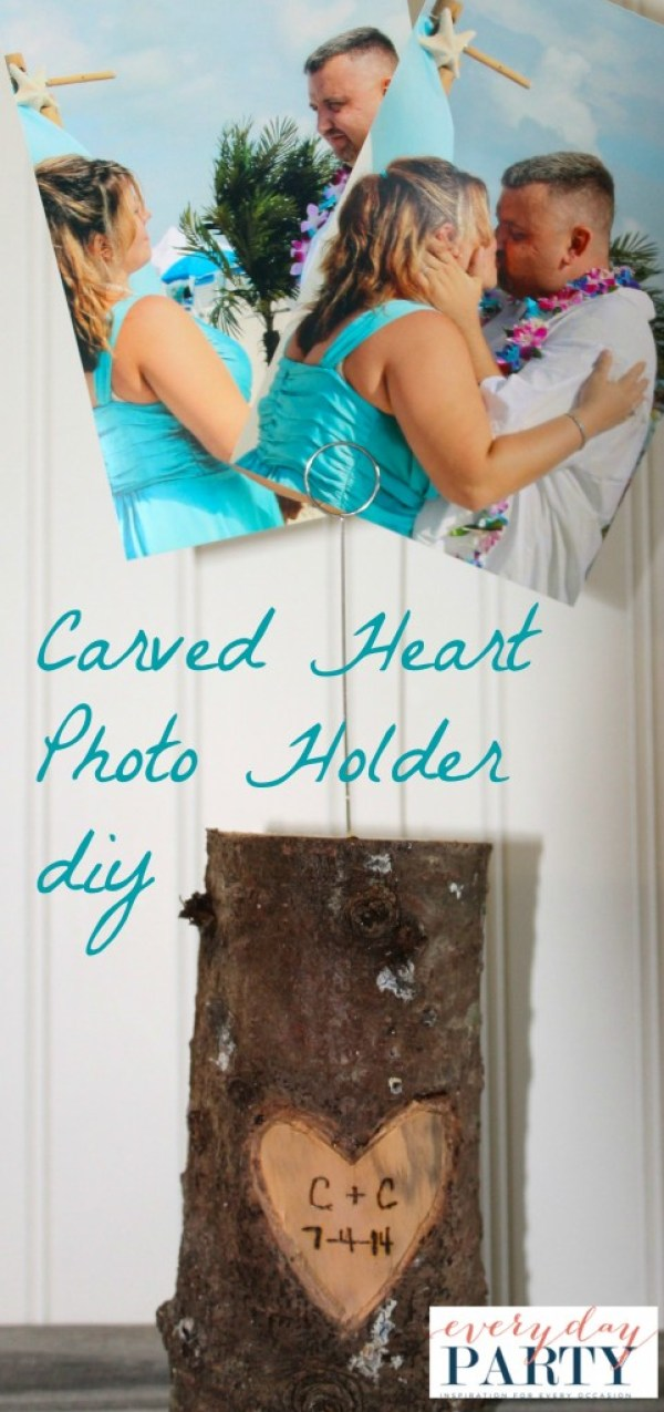 Everyday Party Magazine Affordable Wedding Gift DIY Carved Heart Photo Holder
